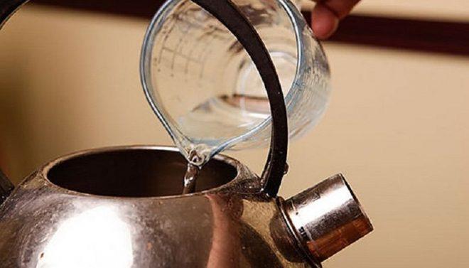 Очистить чайник содой